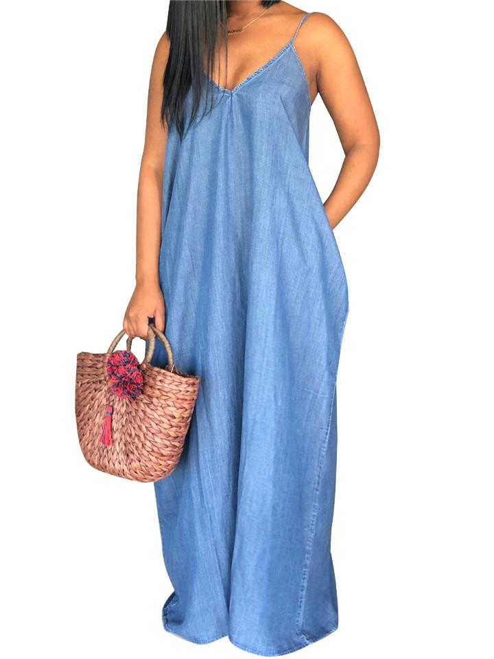 Sexy Denim  V-Neck Loose Maxi Dress
