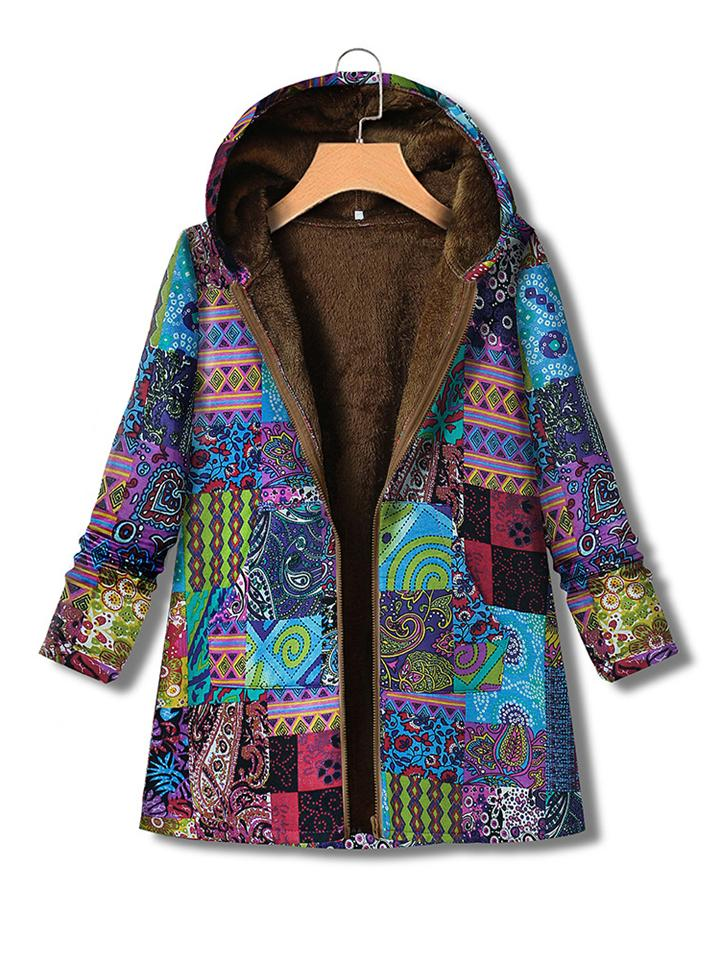 Ethnic Print Zipper Hooded Plush Thick Cotton Coat