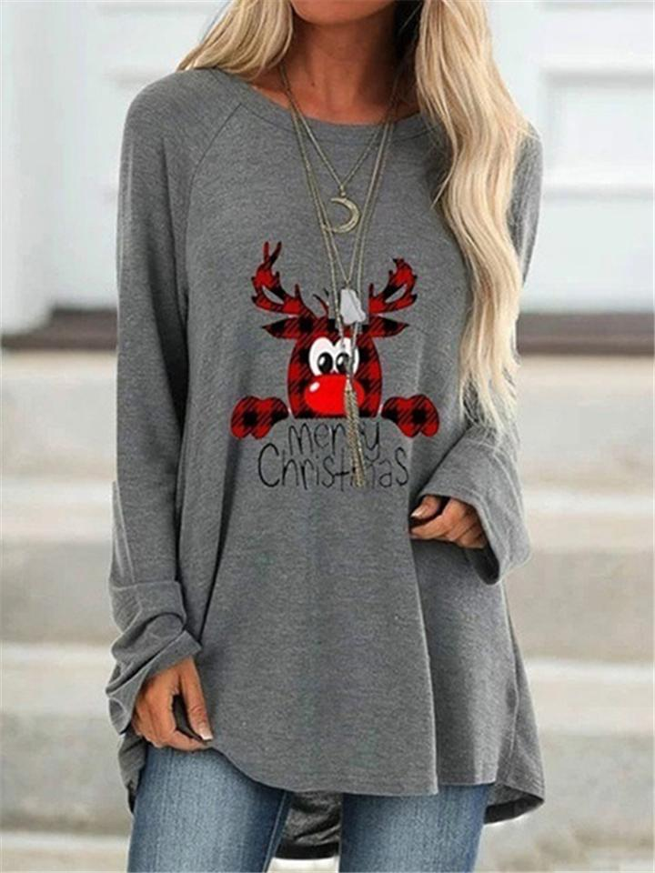 Relaxed Fit  Christmas Printing Long Sleeve T-Shirt