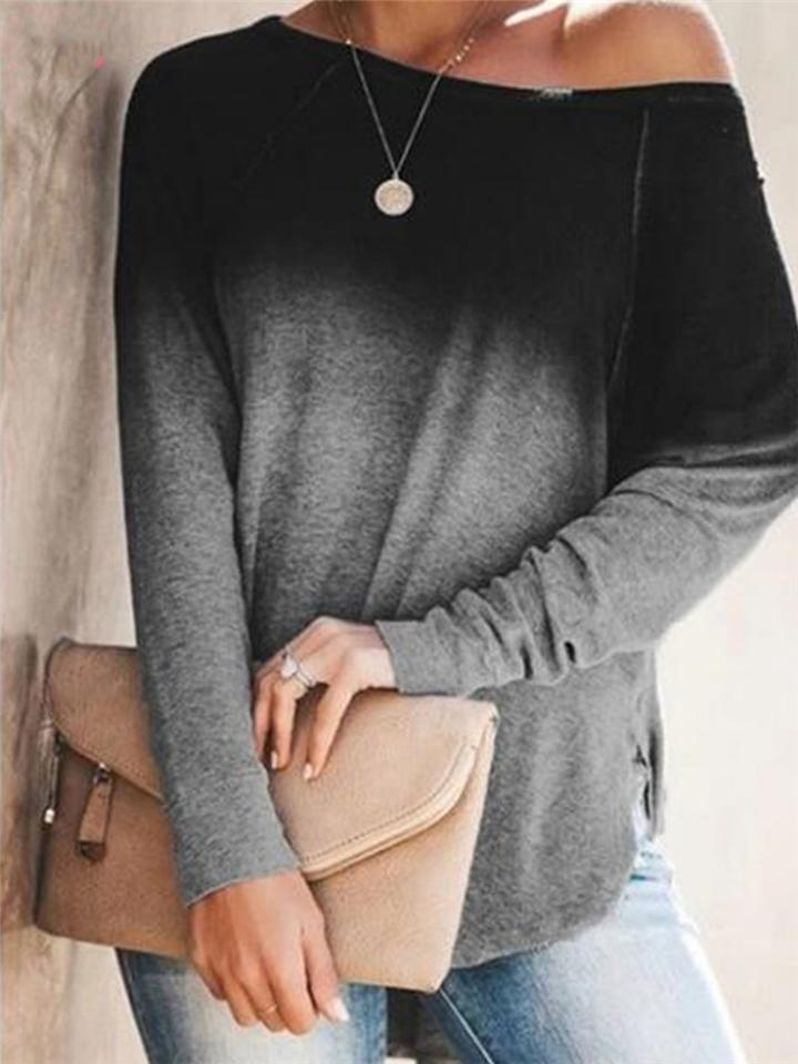 Casual Fit Front Gradient Round Neck Long Sleeve Shirt