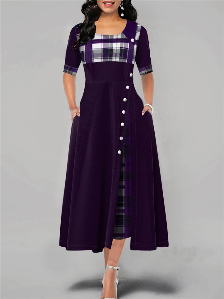 Casual Plaid Patchwork Short Sleeve Long Asymmetrical Dress For Women