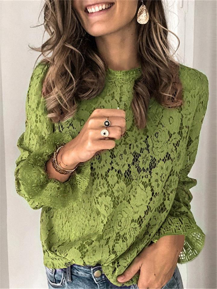 Women Pretty Flared Long Sleeve Lace Shirt