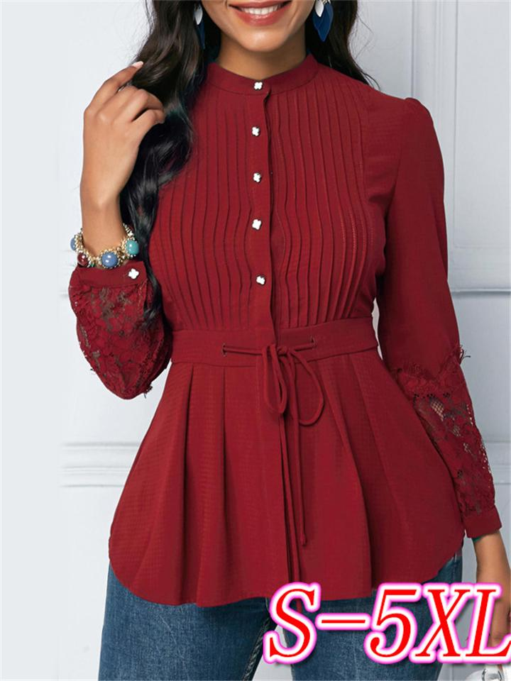 Solid Color Stand Collar Lace-up Waist Lace Long Sleeve Tops