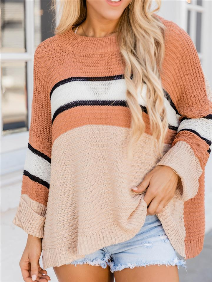 Loose Fit Color Block Pullover Long Sleeve Knit Sweater