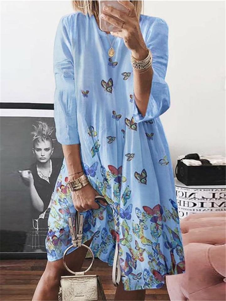 Loose Fit Butterfly Printed Round Neck Long Sleeve Midi Dress