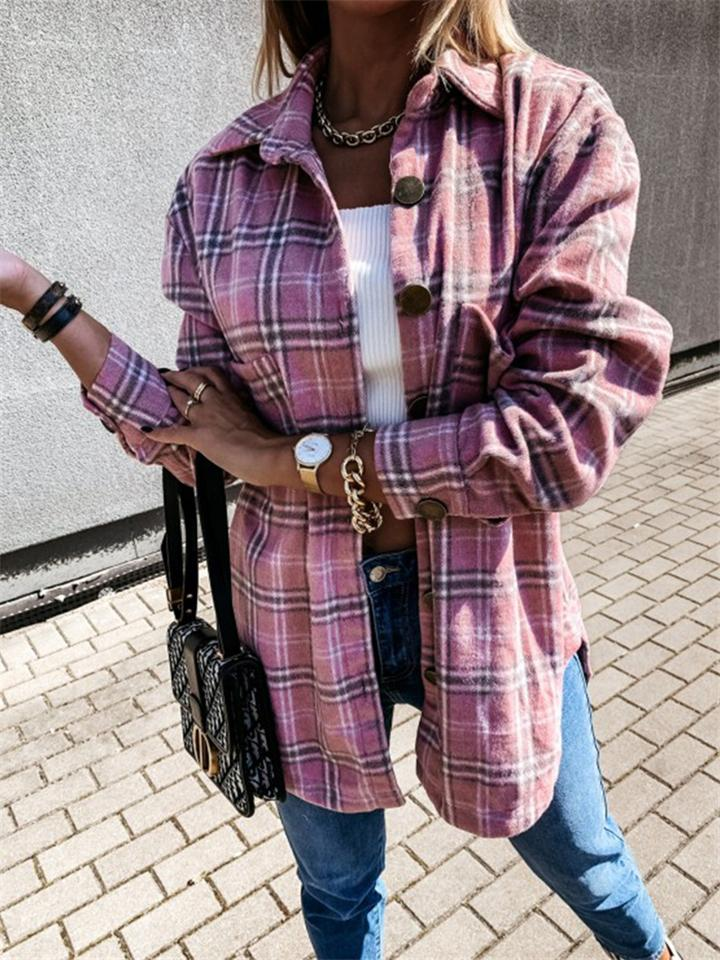 Vintage Style Front Button Plaid Long Sleeve Coats