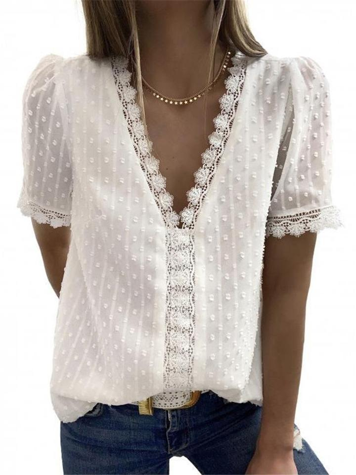 Solid Color Lace Short Sleeve V Neck Chiffon Blouses