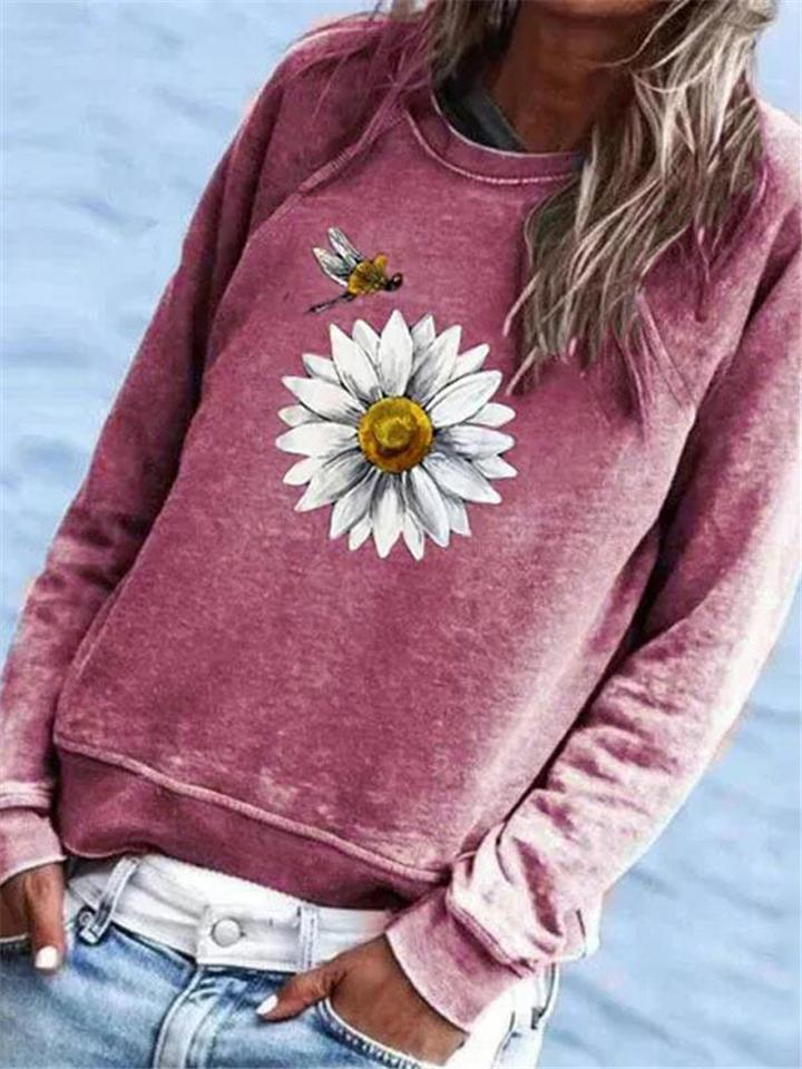 Daisy Flower Print Long Sleeve T-shirt
