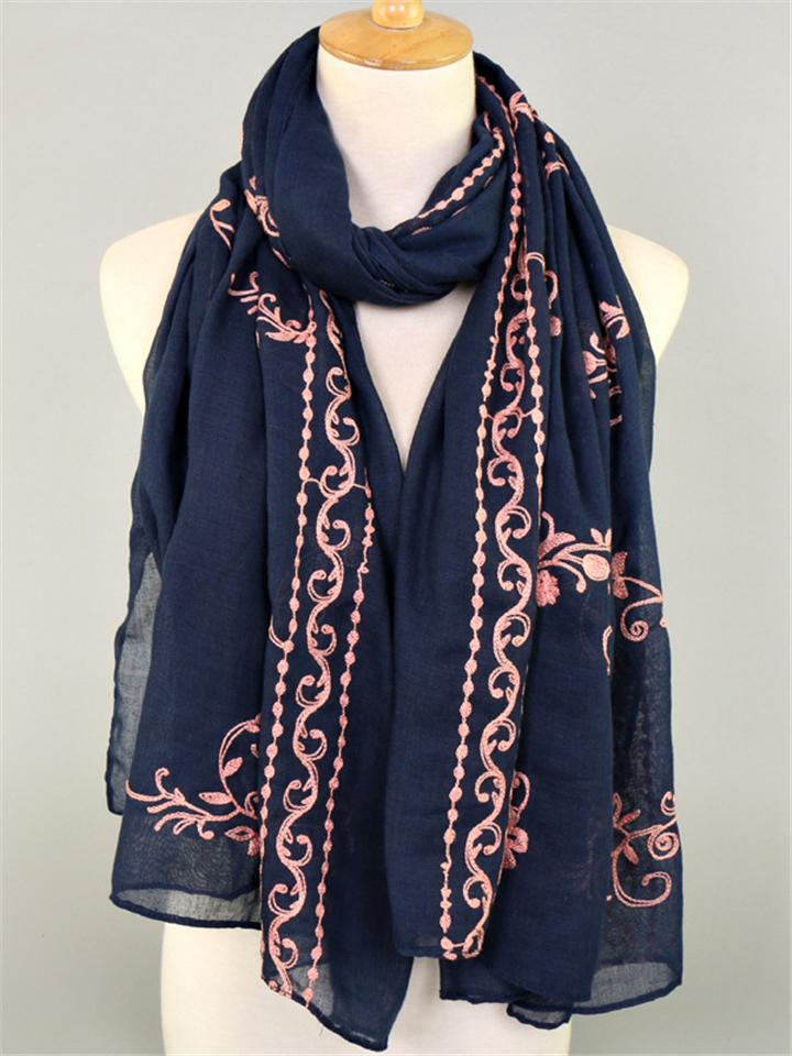 Exotic Embroidery Floral Multi-purpose Elegant Cotton Long Scarf & Shawl Wrap