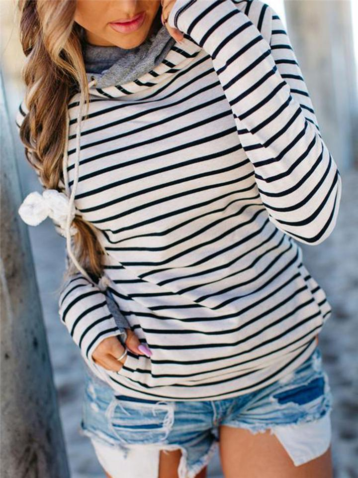 Relaxed Fit Striped Front Pocket Drawstring Hooded Sweatshirt