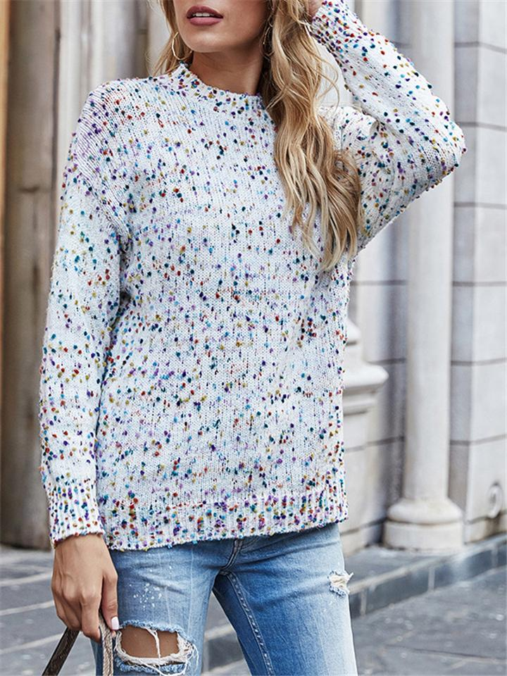 New Fashion Colorful Star Point Space Dye Knitted Sweater For Women