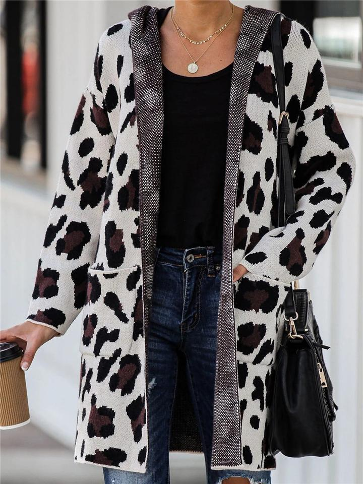 Leopard Knitted Sweater Long Cardigan
