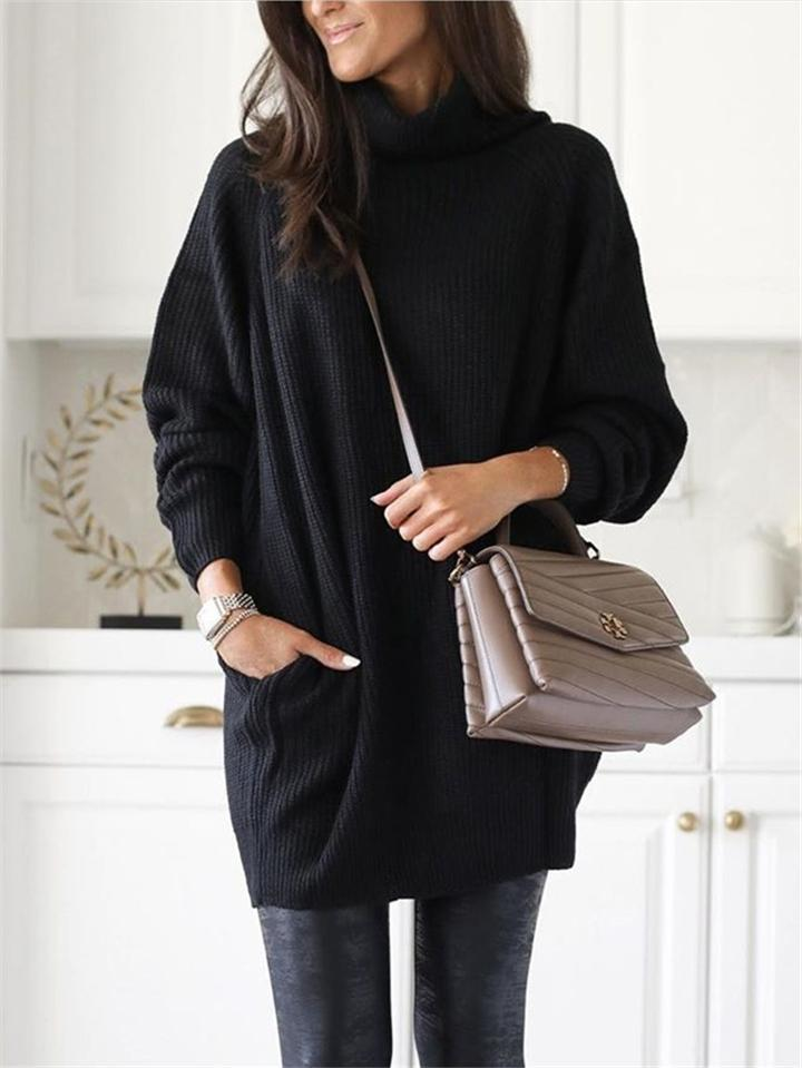 Solid Color High Collar Pocket Midi Length Knit Sweater