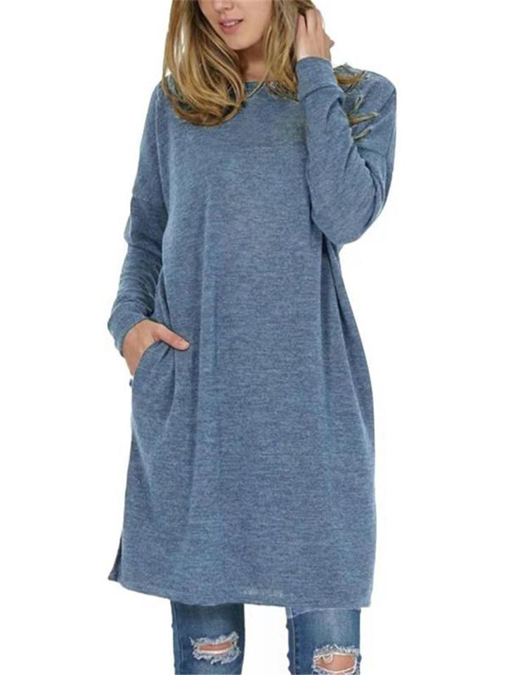 Soft Touch Solid Color Pullover Long Sleeve Midi Length Shirt