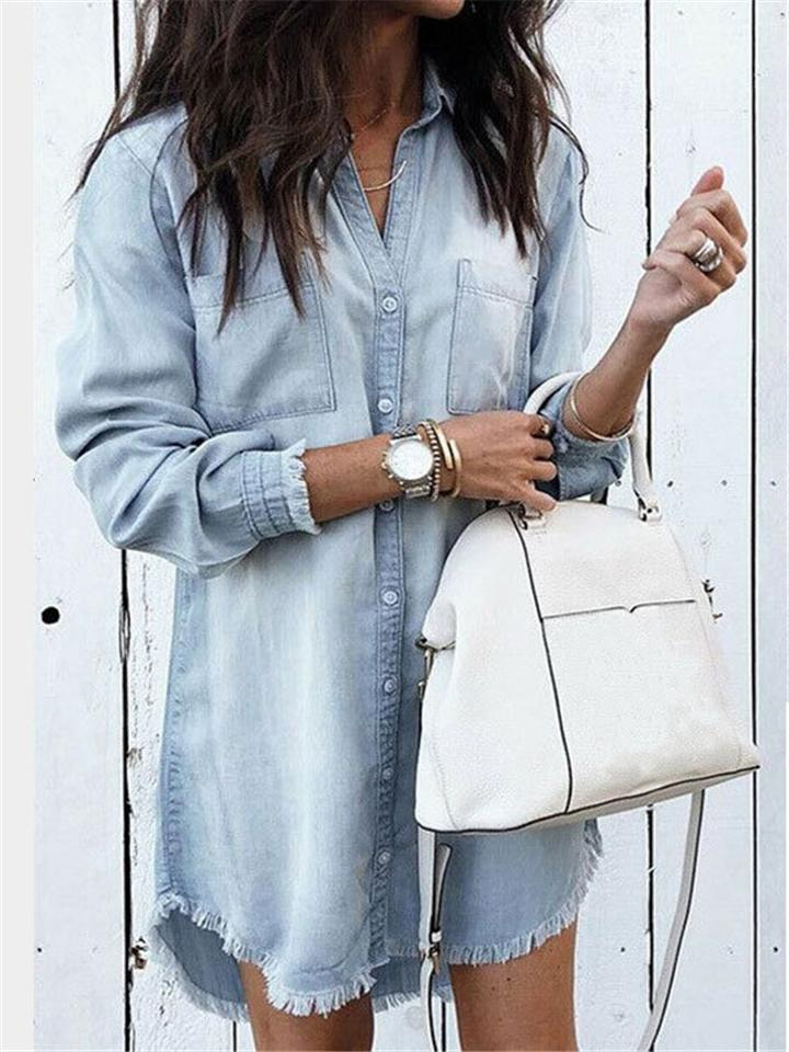 Women's Fashion Tassels Denim Shirt