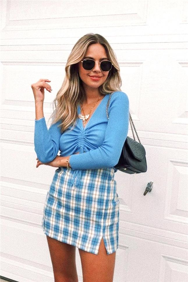 Women's Fashion Sexy High Waisted Plaid Skirts
