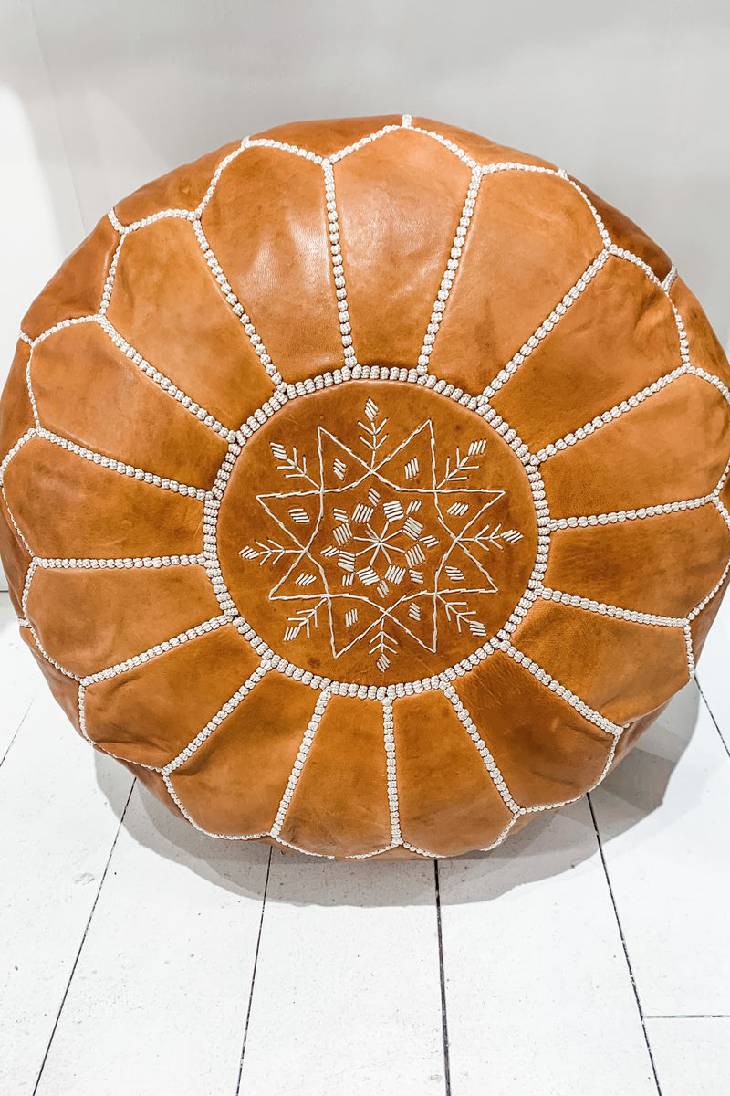 Moroccan Pouf - Light Tan