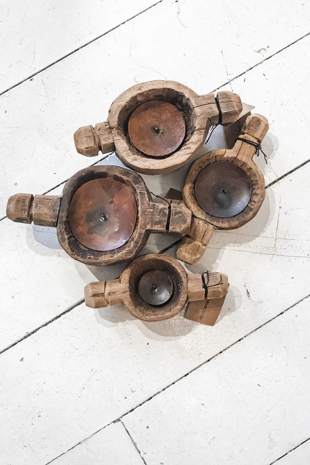 Found round wood candle holder