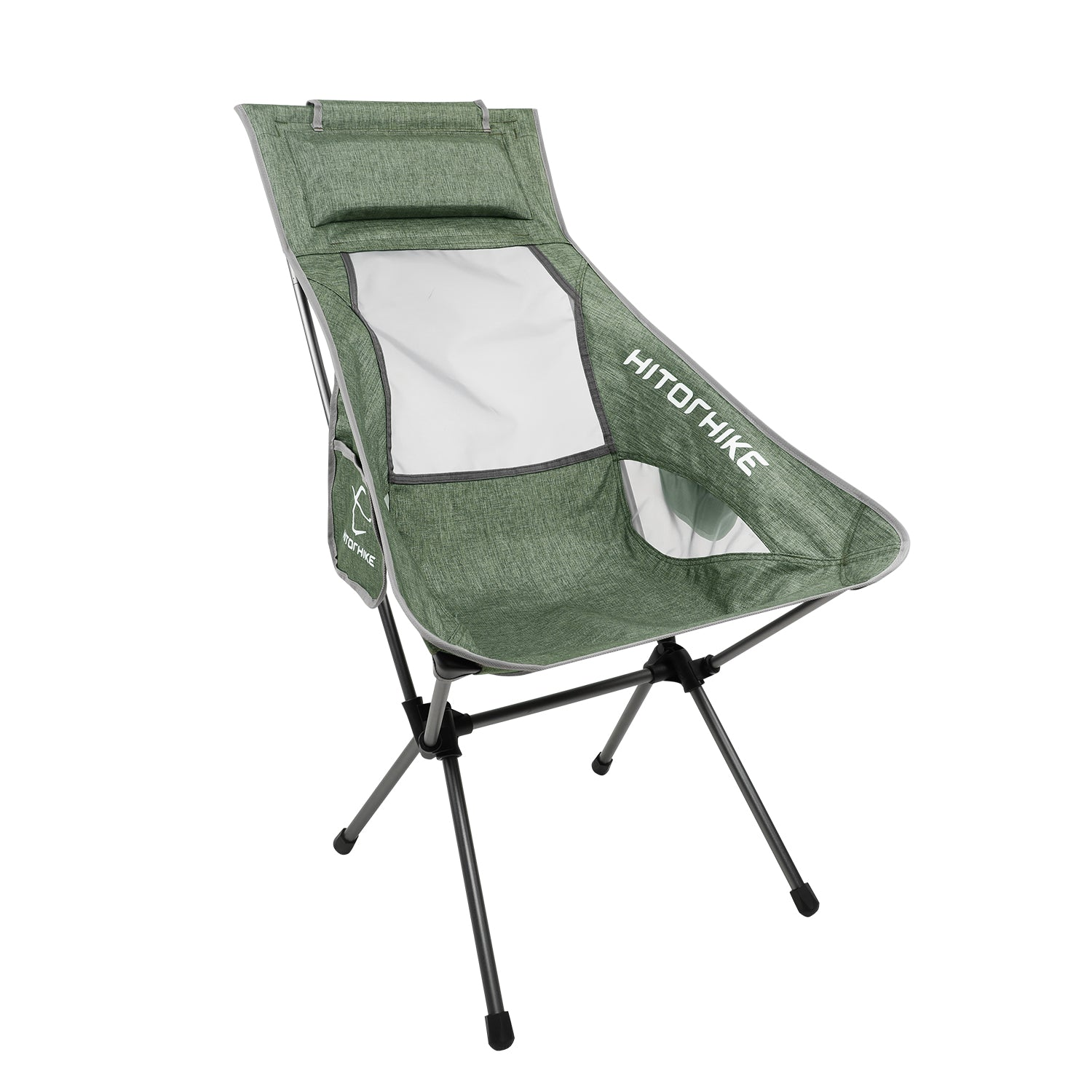 Hitorhike Camping Chair with Nylon Mesh and Comfortable Headrest Ultralight High Back Folding Camp Chair Portable Compact for Camping, Hiking, Backpacking, Picnic, Festival, Family Road Trip(Green)