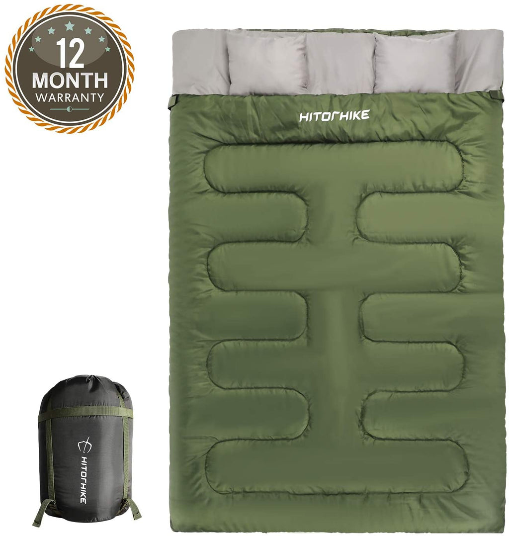 HITORHIKE Double Sleeping Bag with Pillows for Camping, Hiking, Traveling, Backpacking