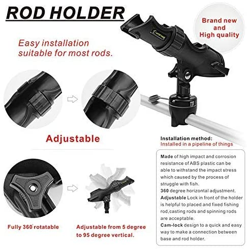 HITORHIKE Fishing Rod Holder Universal Fit Kit Allows for 360-degree Adjustment Kayak Fishing Boat Powerlock Rod Holder