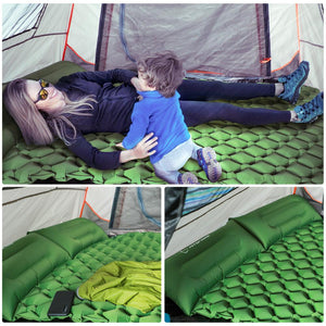 Hitorhike innovative sleeping pad fast filling air bag camping mat inflatable mattress with pillow