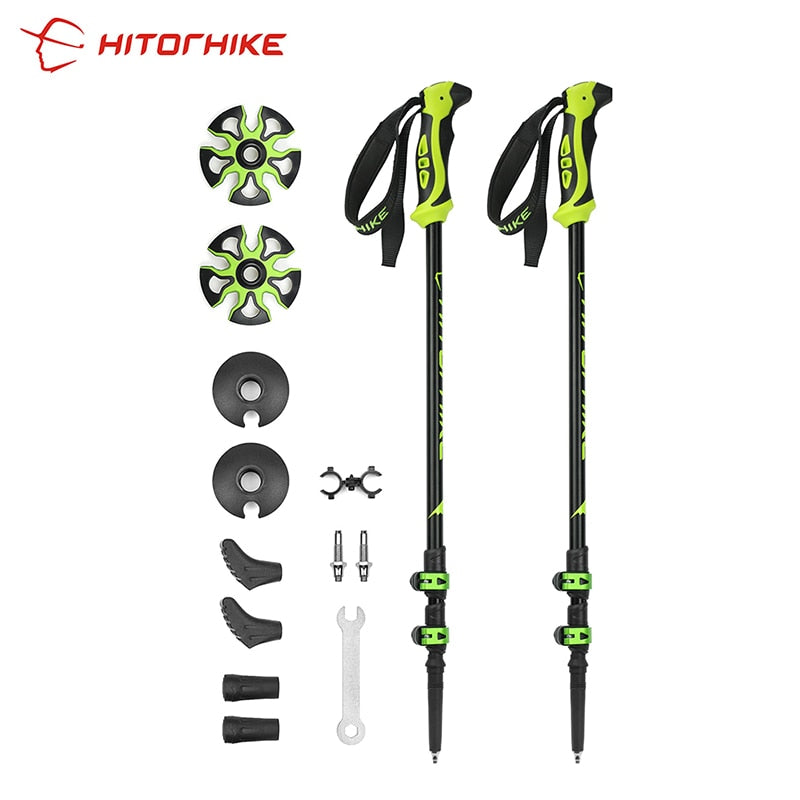 Hitorhike for Nordic walking sticks camping hiking Ultralight Adjustable Telescopic Alpenstock Trekking Pole walking New arrival