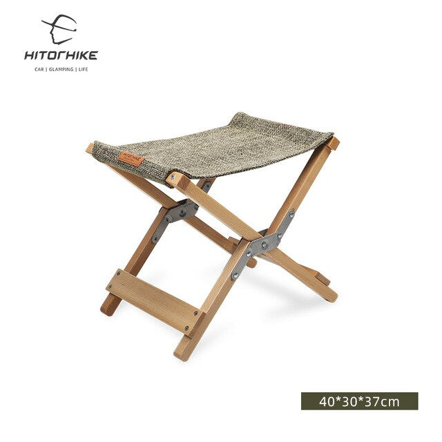 Hitorhike wholesale outdoor portable small folding beech wooden chair for camping hiking and indoor
