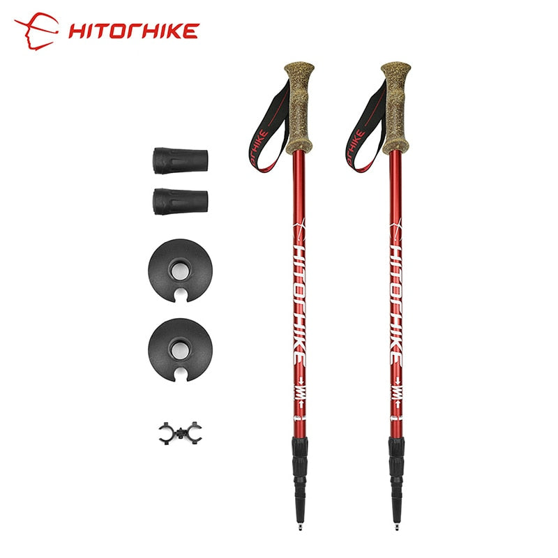 Hitorhike Outdoor Travel Camping Hiking Climbing Walking Stick 6061 Aluminium AlloyAlpenstock Skiing Trekking Pole 1pair Arrival