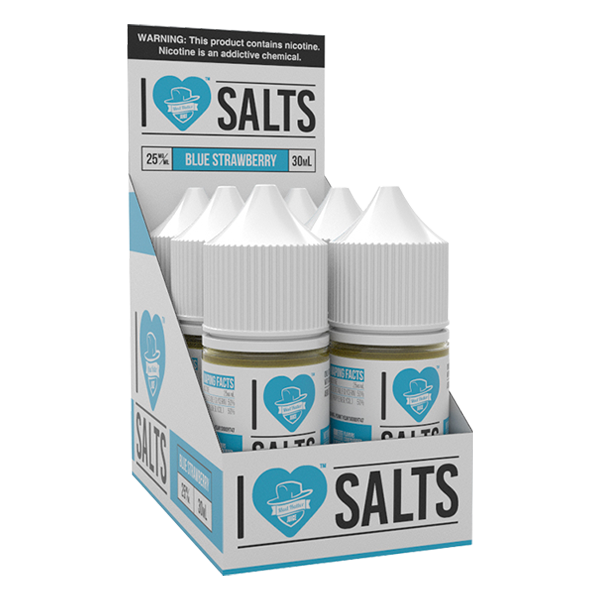 A fruity blue strawberry flavored eliquid made by I love salts, available for wholesale online