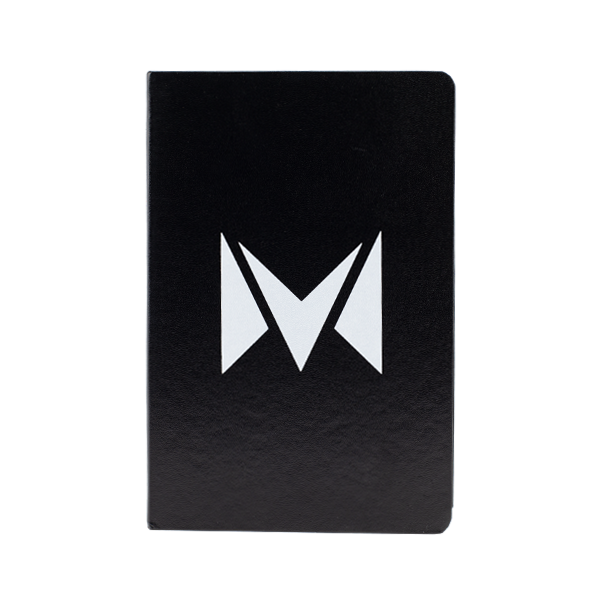 A hard-covered Mi-Pod notebook, available for wholesale in black