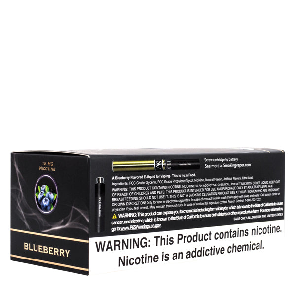 Available in 4 strengths, Blueberry disposable vape pen cartridges made for electronic cigarettes