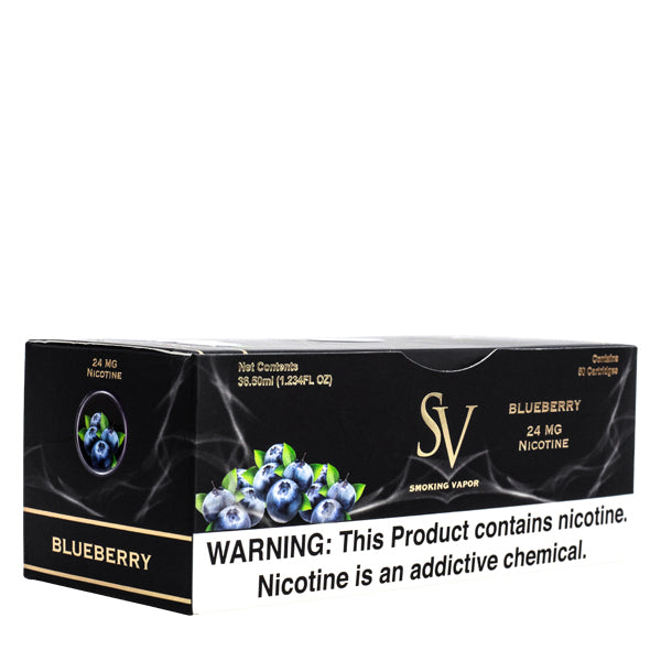 A sleeve of Blueberry flavored replacement cartridges, for use with Smoking Vapor ecigs
