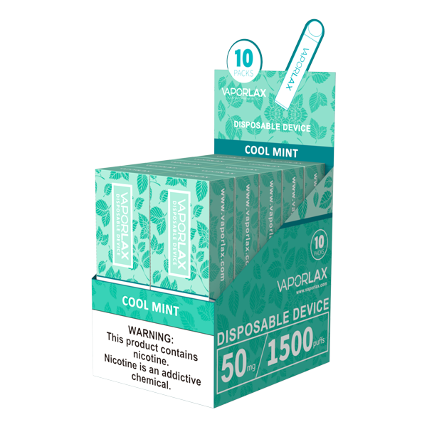 Bulk cool mint disposable vapes from vaporlax, made with 1500 puffs per device