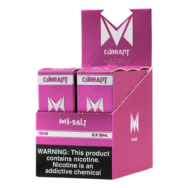 A best selling fruity flavored vape juice, Currant Mi-Salts made with nicotine salts
