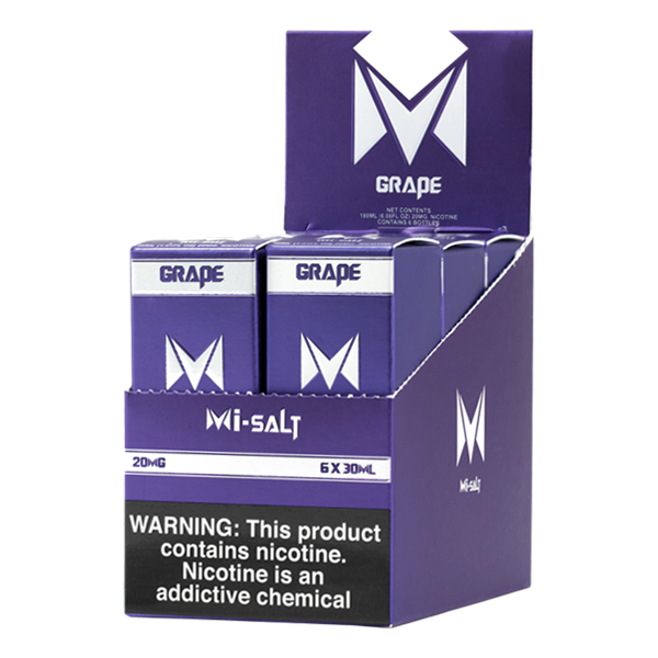 A best-selling fruity pod juice, Grape Mi-Salts is available for wholesale in 20mg & 40mg
