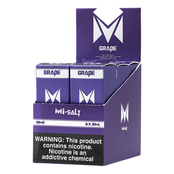 A best selling fruity flavored vape juice, Grape Mi-Salts made with nicotine salts