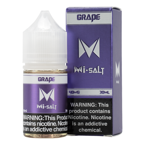 Packs of 6 30ml eliquid with nicotine in 20mg & 40mg, Grape Mi-Salts by Mi-One Brands