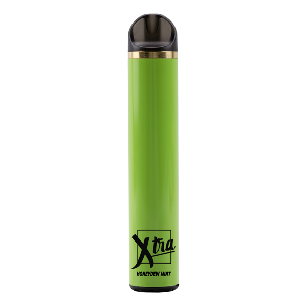 Bulk Honeydew Mint disposable vape pens from Xtra, each with 1400 puffs of menthol and honeydew flavors