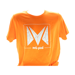 A orange Mi-Pod T-shirt, made with 100% cotton and an Mipod logo