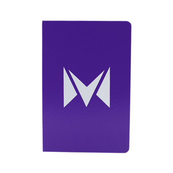 A hard-covered Mi-Pod notebook, available for wholesale in purple