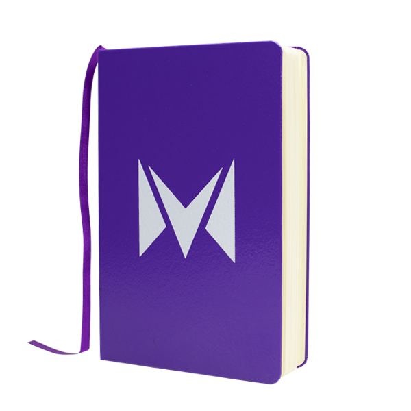 A branded notebook with the Mipod logo, made with over 100 pages