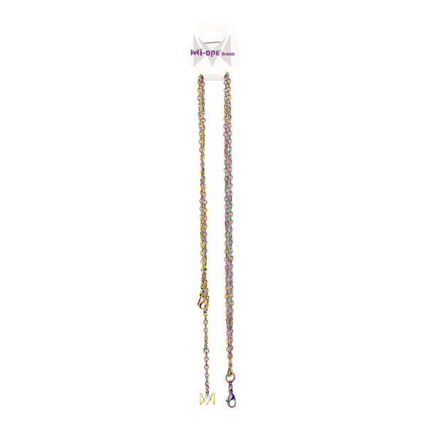 Browse our supply of wholesale necklace chains, seen in the rainbow metal material