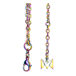 The perfect vape accessory for wearing your device on a lanyard, a rainbow metal chain