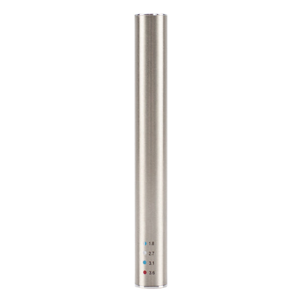 The rear side of the Silver Slim Preheat, the best vape pen for concentrates
