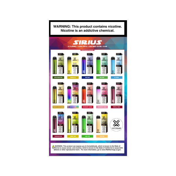 A Sirius vape poster, featuring the biggest disposable vape pens avaiilable