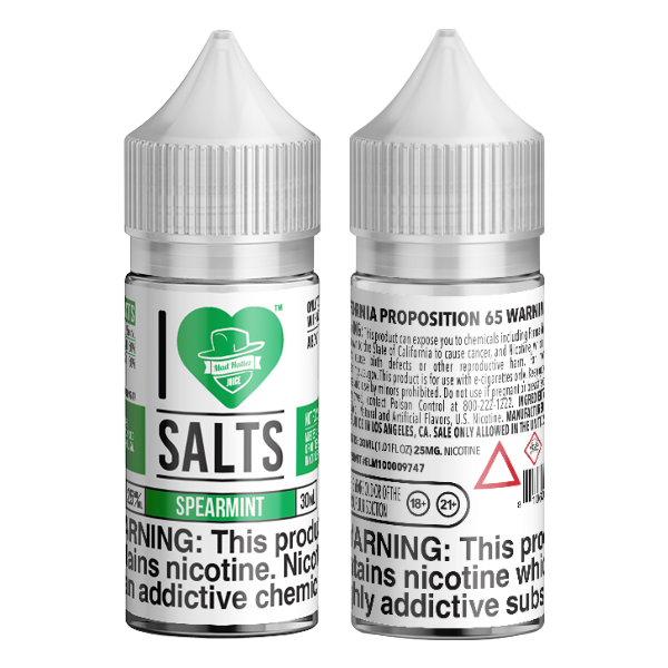An icy spearmint flavored eliquid made by I love salts, available for wholesale online