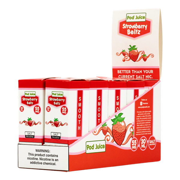 Available in packs of 10, the sweetened Strawberry Belts flavor e-liquid from Pod Juice
