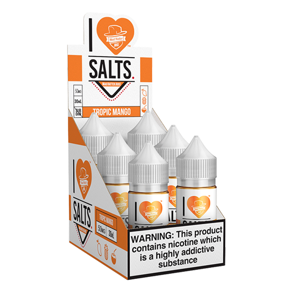 A tropical mix of mango flavored eliquid made by I love salts, available for wholesale online