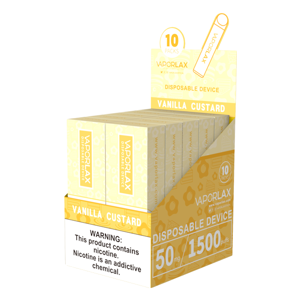 Bulk vanilla custard disposable vapes from vaporlax, made with 1500 puffs per device